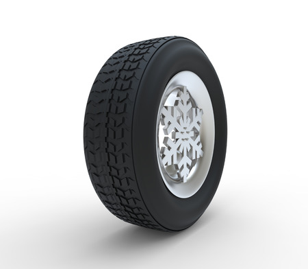 winter tires: Set of winter tires with the rim of snowflake shape isolated on white background 3d illustration