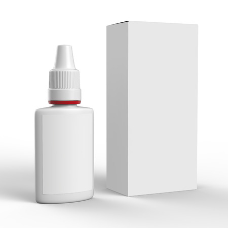 packaging box: Clean mockup of nasal spray bottle and box isolated on white background. Ready For Your Design. Stock Photo