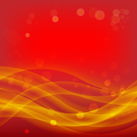 golden light: Red Christmas Abstract Background with Smooth Waves and Light Golden Bokeh Effect Illustration