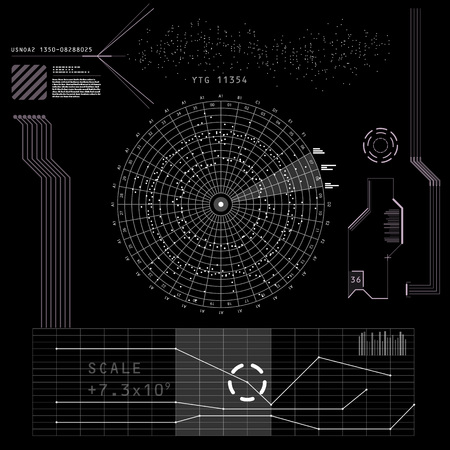 oscillograph: Abstract future, concept futuristic black and white virtual graphic touch user interface HUD. Raster version