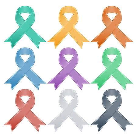 cancer woman: Realistic colorful ribbon, breast cancer awareness symbol, isolated on white. Vector illustration, eps10. Illustration