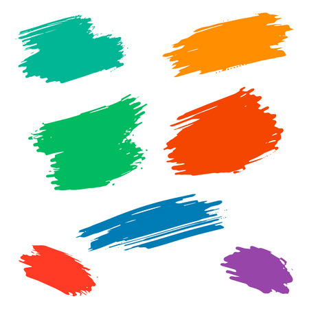 brush stroke: Set of vector grunge colorful dry brush strokes