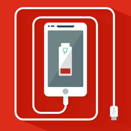 recharge: Phone charging icon flat design isolated on red background Illustration