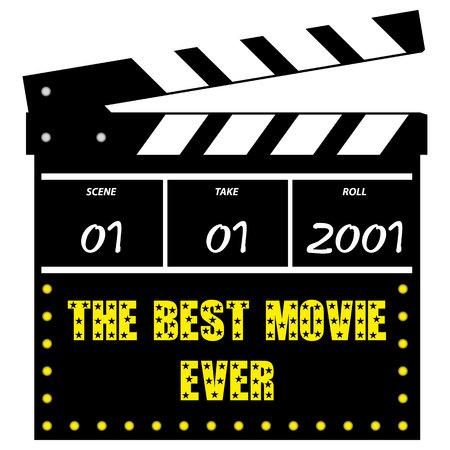 Wektorowa ilustracja filmu lub filmu clapperboard na białym tle