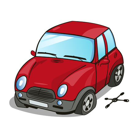 drive nail: Vector cartoon illustration of a small red car with a broken wheel and wrench lying near the car Illustration