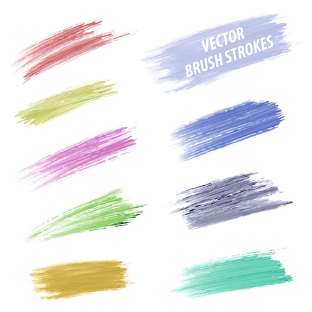 blood draw: Set of vector grunge colorful dry brush strokes