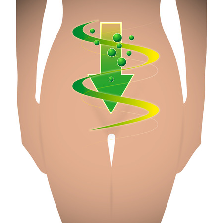 gut: Vector Silhouette of a woman with a symbol of good digestion