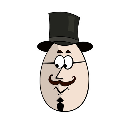 honorable: Englishman Funny Cartoon Egg Face Character Vector Illustration Illustration