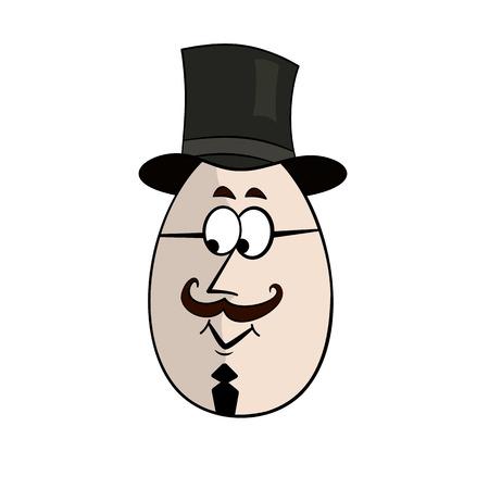 Englishman Funny Cartoon Egg Face Character Vector Illustration