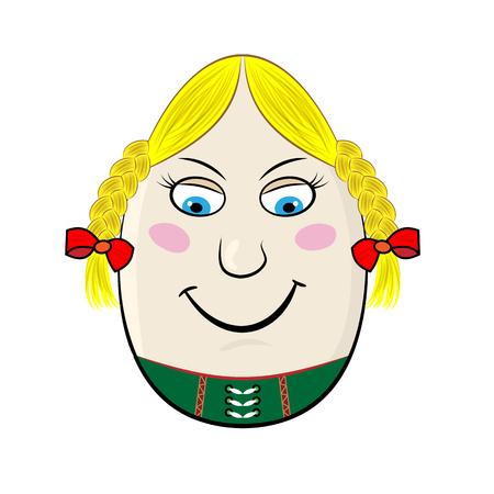 facial features: German Woman Funny Cartoon Egg Face Character Vector Illustration