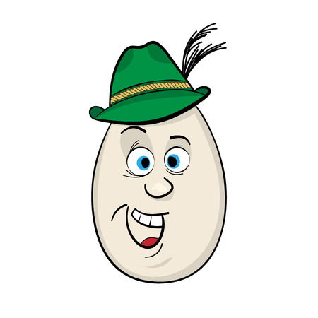 facial features: German Man Funny Cartoon Egg Face Character Vector Illustration