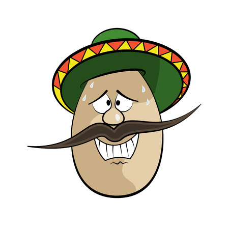 gunman: Mexican Funny Cartoon Egg Face Character Vector Illustration
