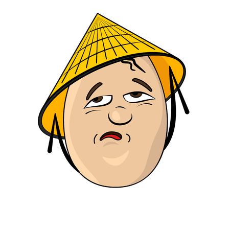 chink: Chinaman Funny Cartoon Egg Face Character Vector Illustration Illustration