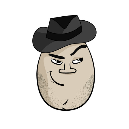 cartoon gangster: Retro American Man Funny Cartoon Egg Face Character Vector Illustration Illustration