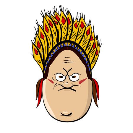 rampage: Red Indian Funny Cartoon Egg Face Character Vector Illustration Illustration
