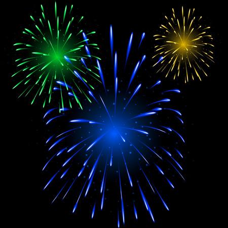 Explosion De Fuegos Artificiales Con Motivos Festivos En Varias