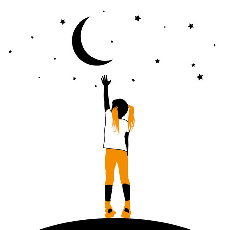 attainment: Vector silhouette of a little girl reaching moon and stars on a white background