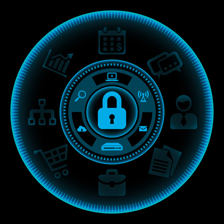 key hole: Blue touch screen interface with icons related to the information technology protection and safety on black background. Vector illustration Illustration