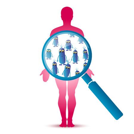 Resumen divertido colibacilo intestinal bajo la lupa sobre la silueta del hombre. ilustración vectorial Ilustración de vector