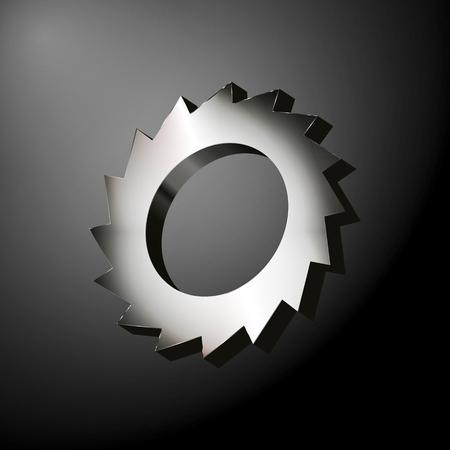 fiambres: engranaje del metal con cuchillas afiladas como una sierra circular sobre el fondo oscuro. ilustraci�n vectorial
