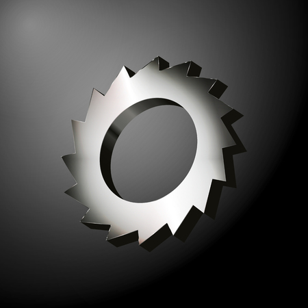 hardened: Metal gear with sharp blades like a circular saw over the dark background. Vector illustration