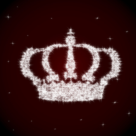 maroon background: Shining vector royal crown made of sparks on maroon background