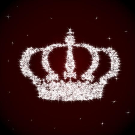 Brillante vettore corona regale fatta di scintille su sfondo marrone