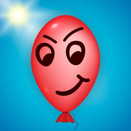 skeptical: Illustration of the red balloon looking evil over a blue sky and sun background Illustration