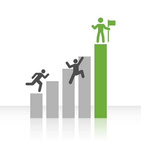 achieve goal: Vector chart with grey and green bars and icons of men clambering up to success.