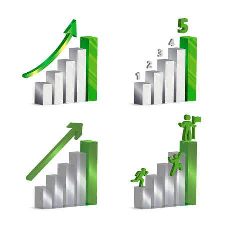 clambering: 3d vector charts with grey and green metallic and glass bars, arrows ,numbers and icons of men clambering up to success.
