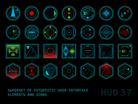 display: Set of conceptual futuristic display interface elements. Round, square and hexagonal shaped icons.