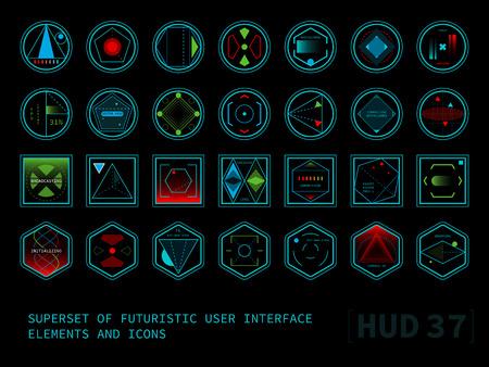 Set van conceptuele futuristische display-interface-elementen. Ronde, vierkante en zeshoekige iconen.