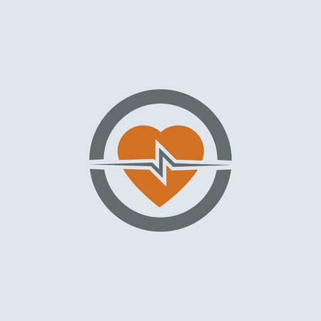 cardiogram: Gray-orange heart with cardiogram round web icon Illustration