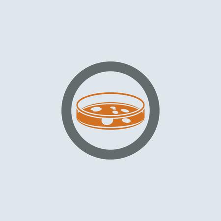 inoculation: Gray-orange Petri dish with bacterium round web icon