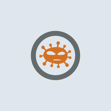 foreign bodies: Gray-orange foreign virus molecule round web icon