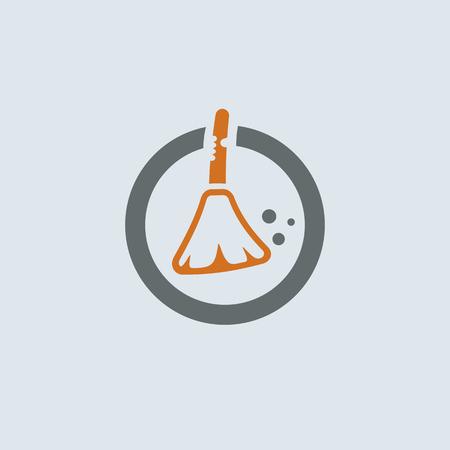 sweeper: Gray-orange broom and garbage round web icon Illustration