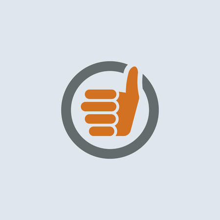 thumbs up sign: Gray-orange thumbs up sign round web icon