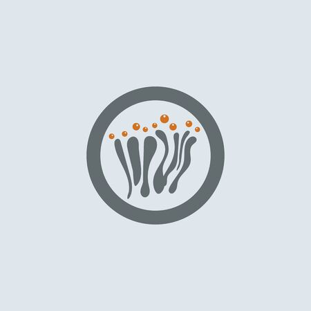 allergens: Gray-orange mucous cells with allergens round web icon