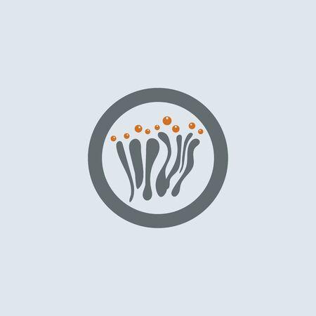 Gray-orange mucous cells with allergens round web icon