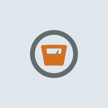 weigher: Gray-orange weighing-machine with arrow pointing to high weight round web icon