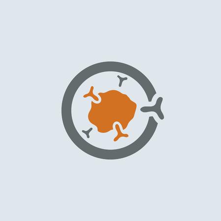 Grijs-oranje symbolische immunoglobuline molecule ronde web icon Stock Illustratie