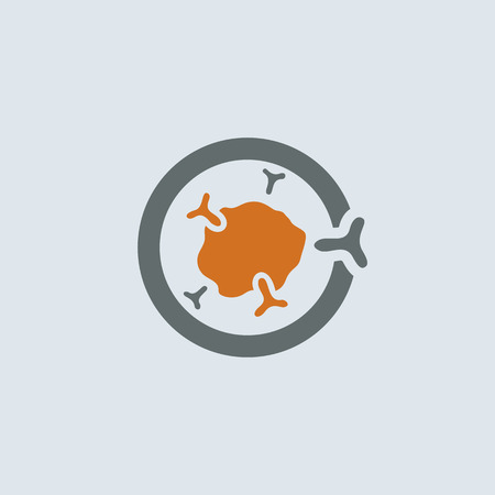 Gray-orange symbolic immunoglobulin molecule round web icon Illustration
