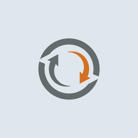Grijs-oranje twee pijlen cyclus ronde web icon Stock Illustratie