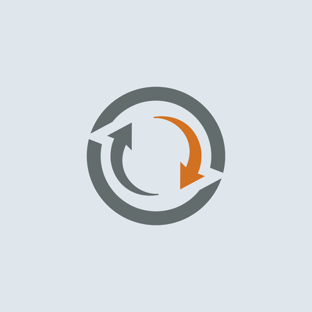 Gray-orange two arrows cycle round web icon