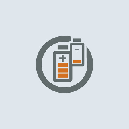 convalescence: Gray-orange two batteries with low and high charge round web icon Illustration