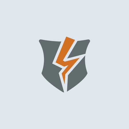 defeated: Gray-orange broken shield as a symbol of broken protection round web icon