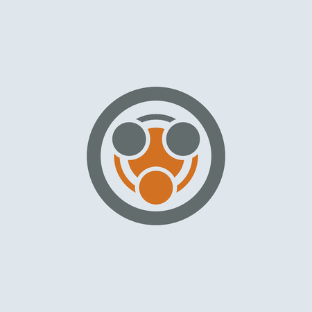 infection: Gray-orange stylized infection symbol round web icon
