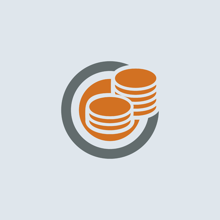 dime: Gray-orange saving symbol of two stacks of coins round web icon Illustration