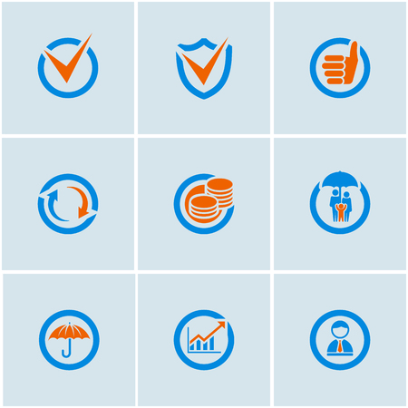 inexpensive: Blue-Orange vector set of financial business web icons Illustration