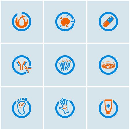 piatto: Blu-arancio vettore set di icone web medici
